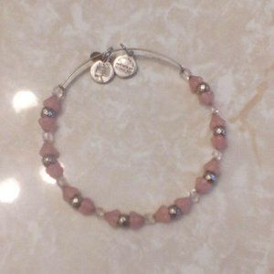 Alex & Ani Rose Pink Mosaic Beaded Silver Bangle